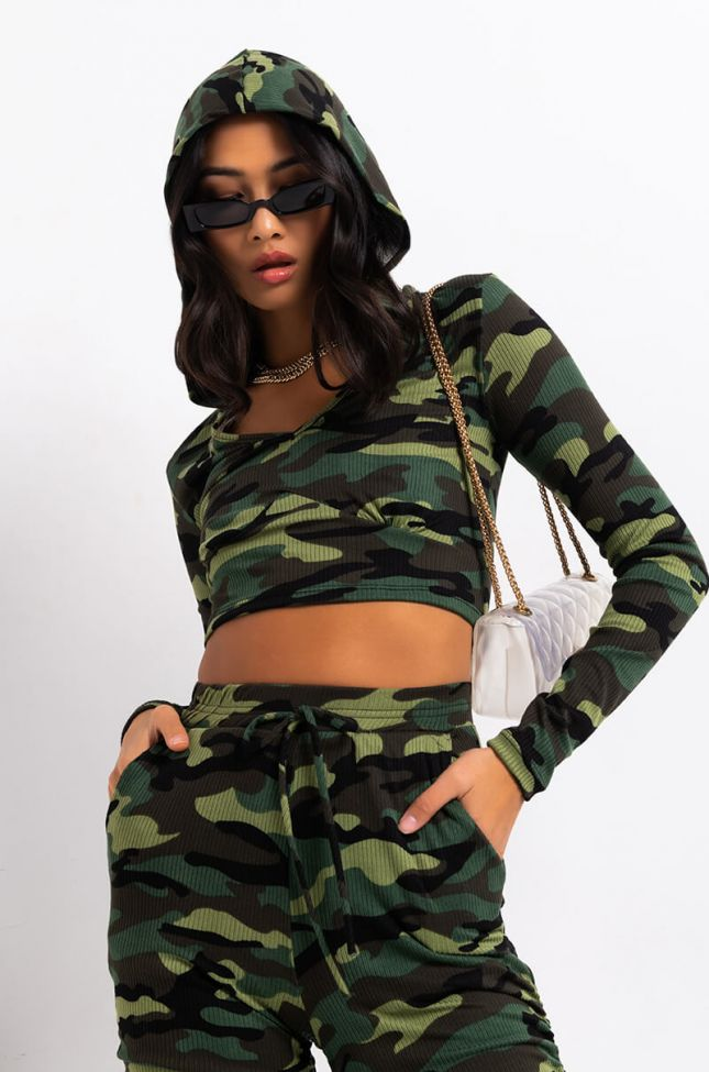Front View Rough Ridin Corset Camo French Terry Hoodie in Green Camo