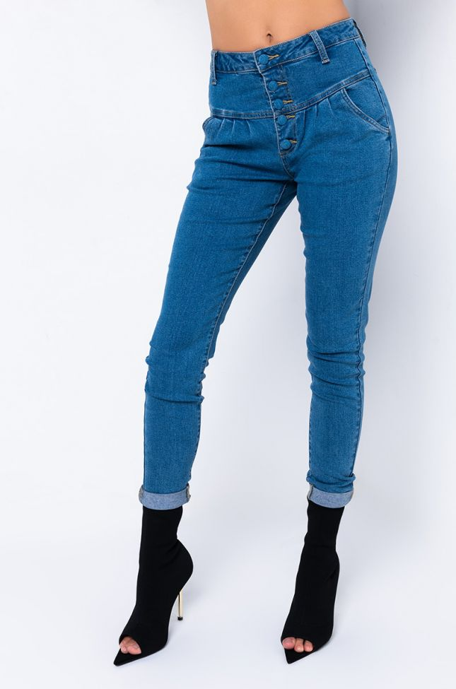 Front View Roxane Straight Jeans With Front Buttons in Medium Blue Denim