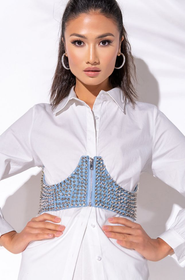 Front View Roxy Studded Corset in Light Blue Denim