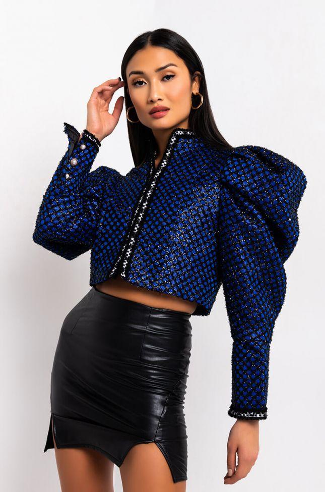 Front View Royal Poplin Blazer Jacket in Royal Blue