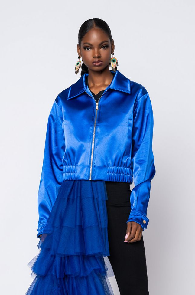 Side View Royal Satin Bomber in Royal Blue