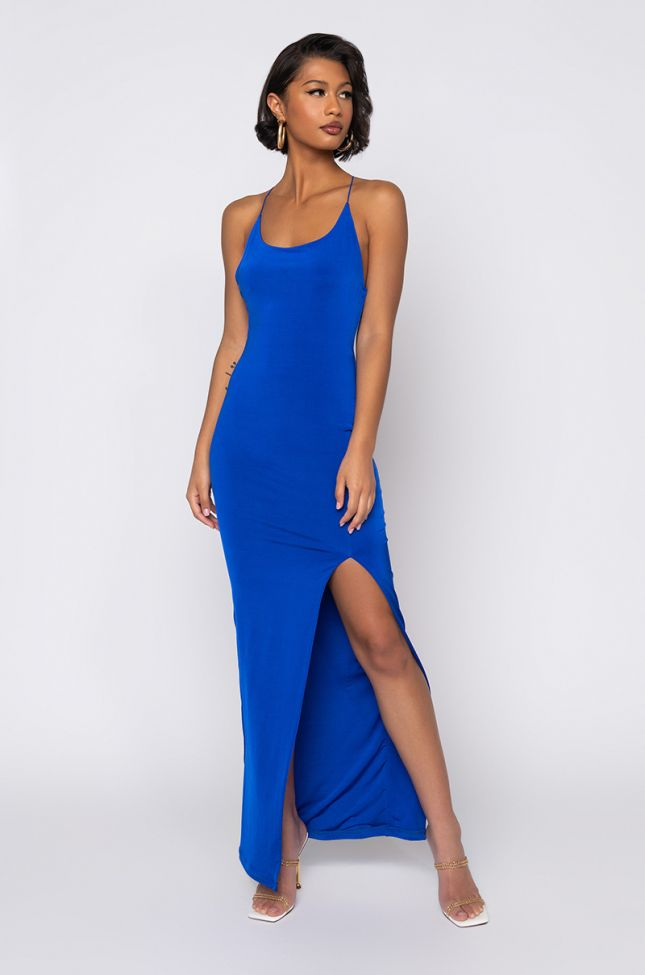 ROYALTY MAXI BODYCON DRESS WITH THIGH SLIT