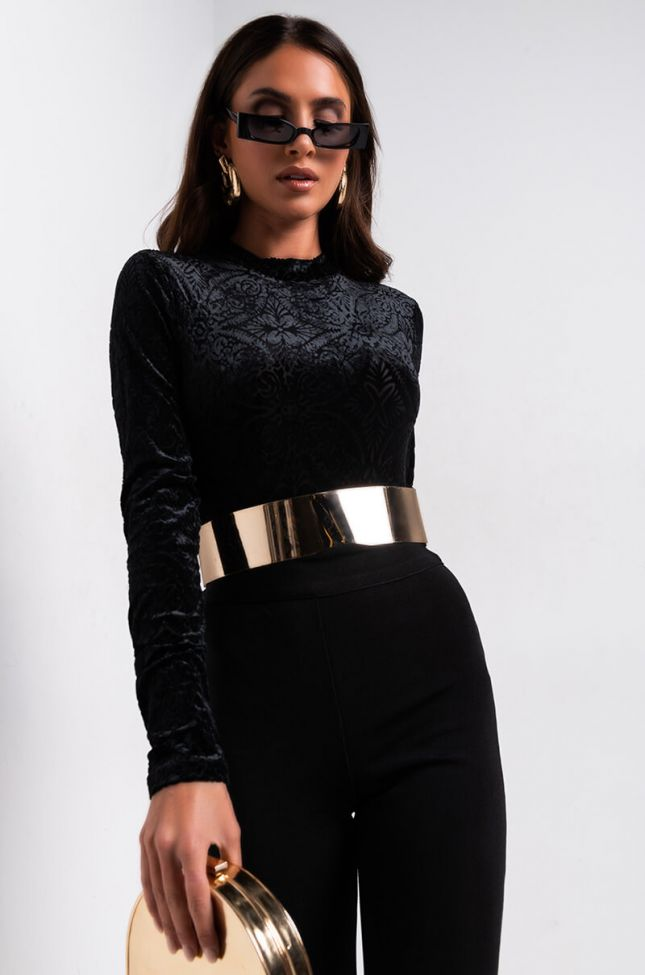 Front View Royalty Velvet Long Sleeve Bodysuit in Black