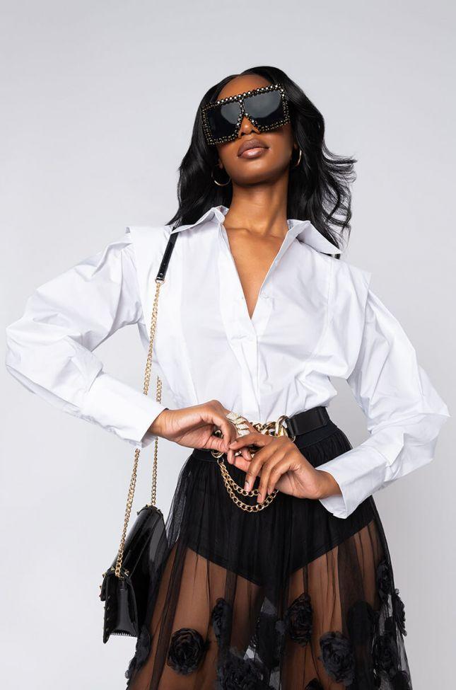 Front View Rubi Long Sleeve Poplin Shirt in White