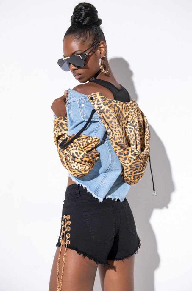 Front View Rue Cheetah Hoodie Denim Jacket in Light Blue Denim