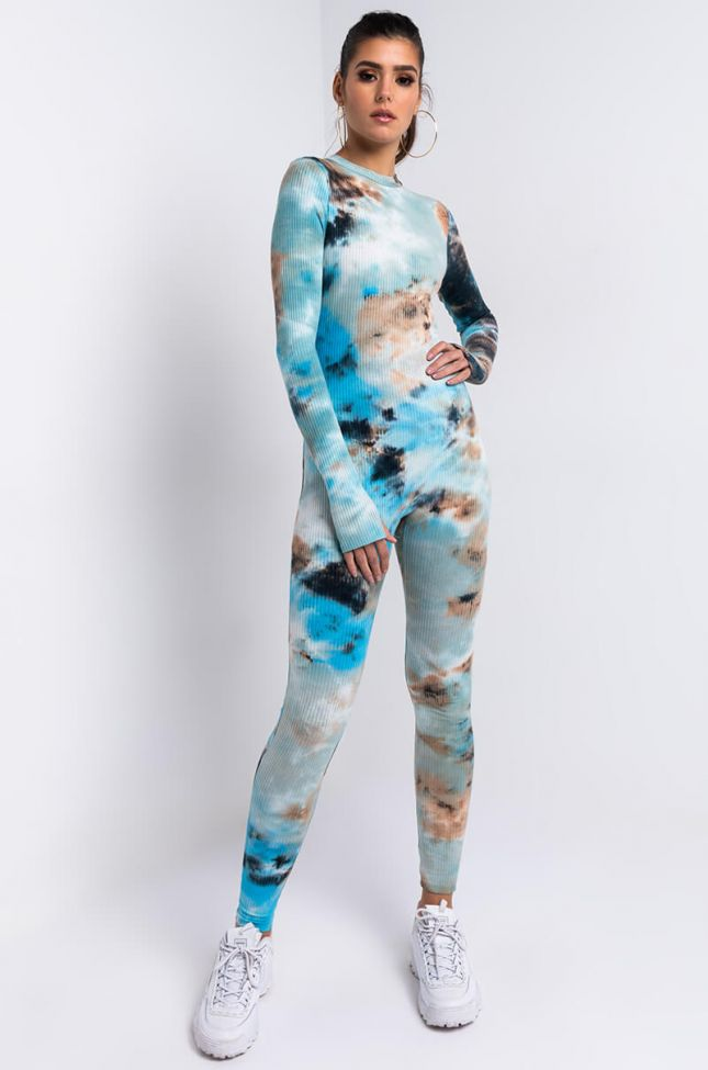 Front View Run The Game Tie Dye Jumpsuit in Blue Multi
