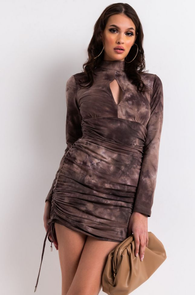 Front View Ruthless Side Ruched Long Sleeve Mini Dress in Brown