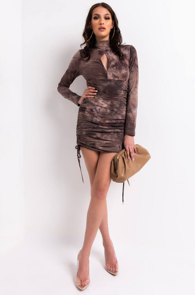 Full View Ruthless Side Ruched Long Sleeve Mini Dress in Brown