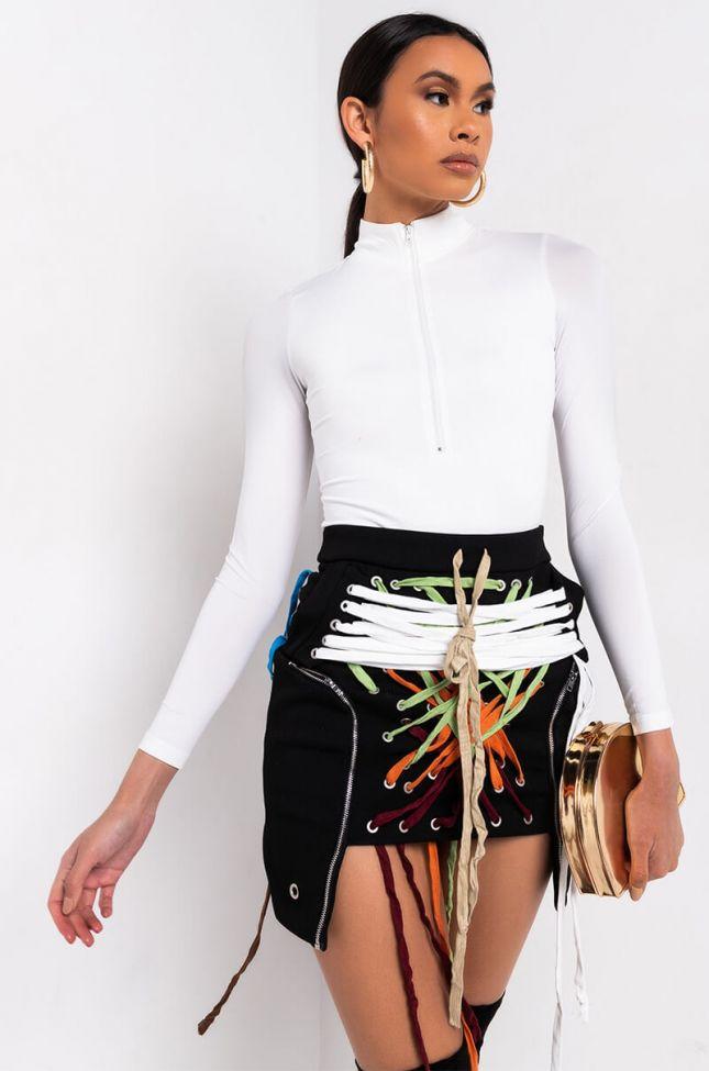 Side View Sabina Zipper Detail Long Sleeve Bodysuit in White