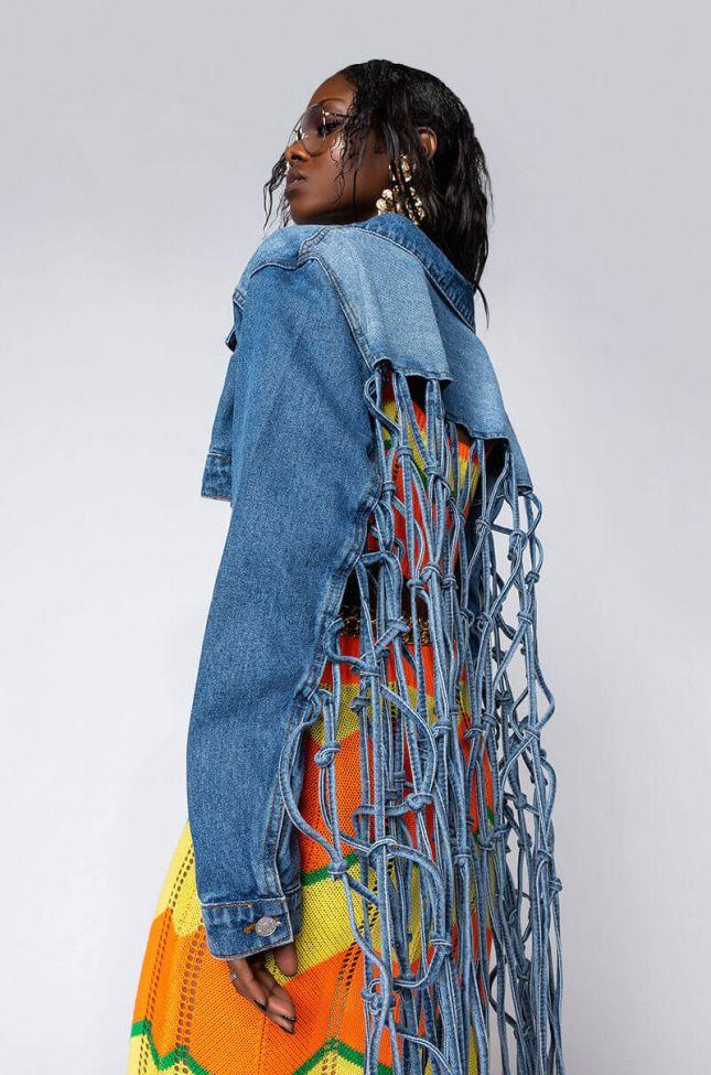 Detail View Saddle Up Cropped Denim Fringe Jacket in Medium Blue Denim