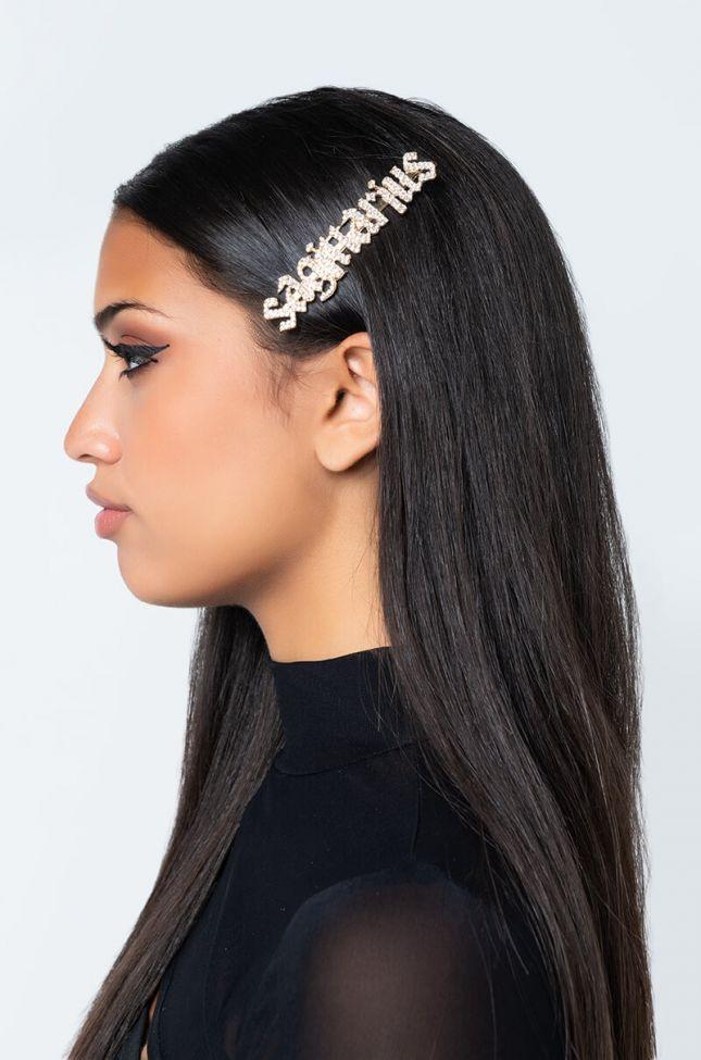 Front View Sagittarius Hair Clip in Gold
