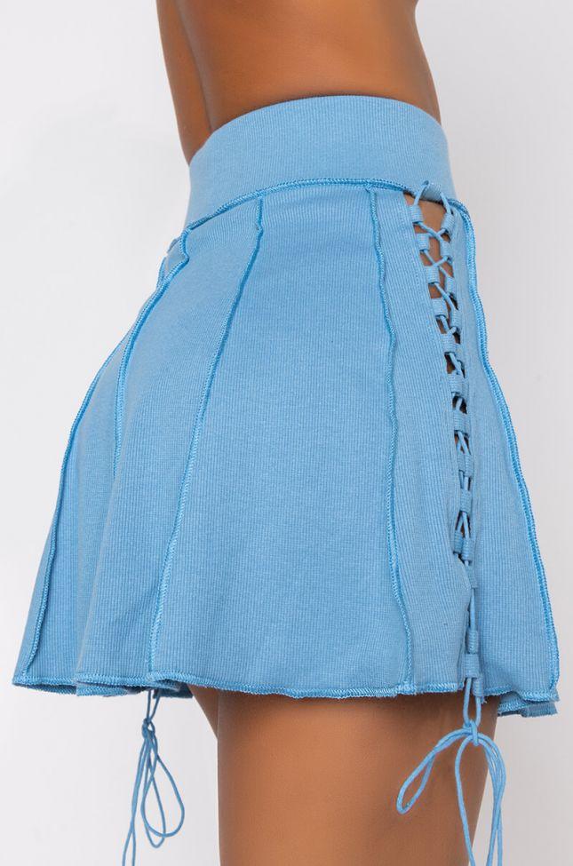 Detail View Sameera Halter Mini Skirt in Blue
