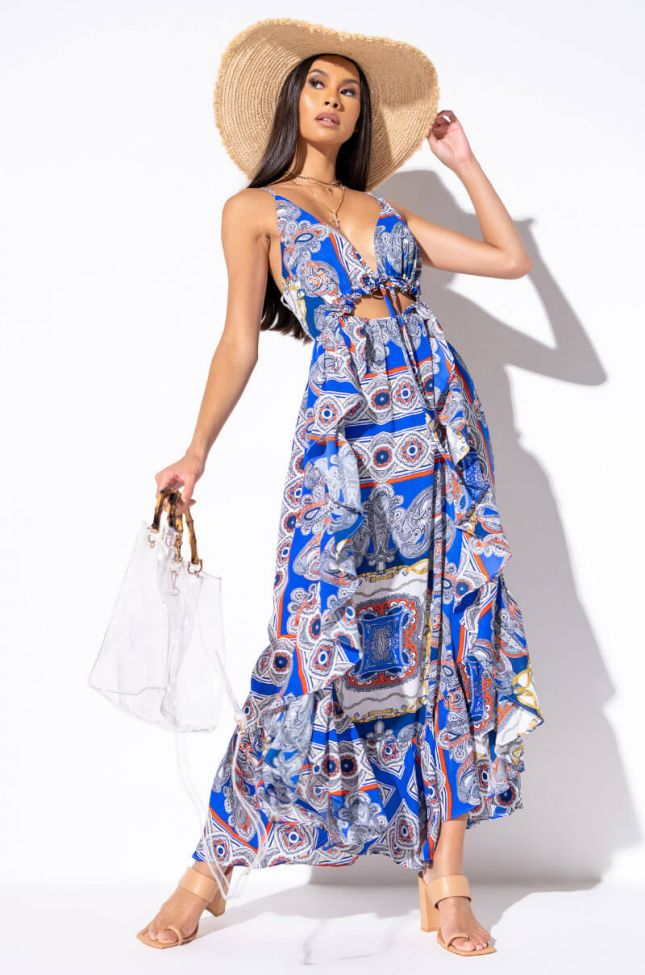 Front View Sammie Scarf Print Maxi Dress With Cut Out in Blue Multi