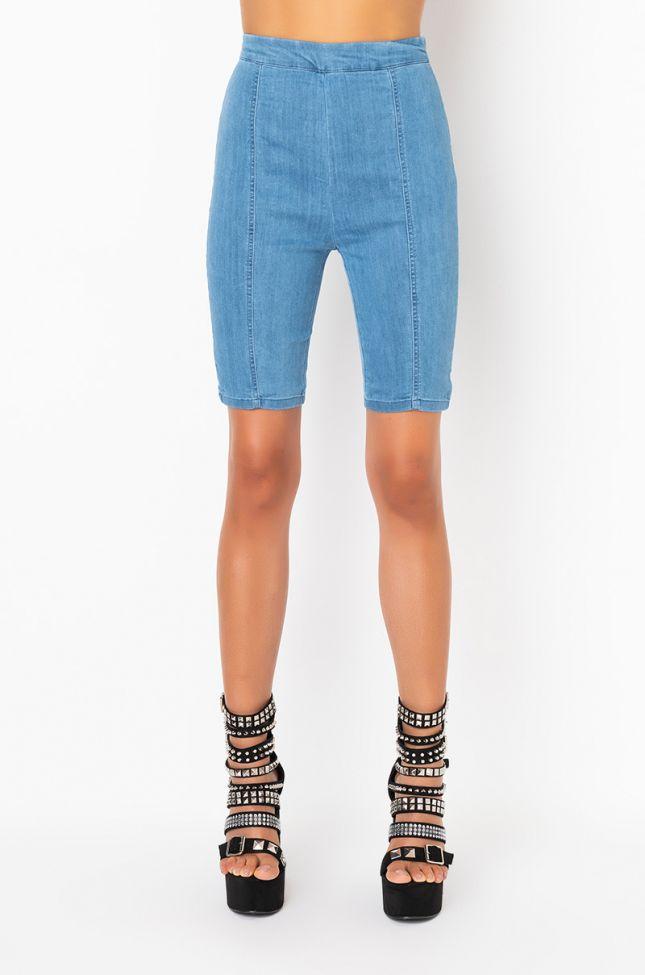 Front View Sandra Dee Denim Biker Shorts in Medium Blue Denim