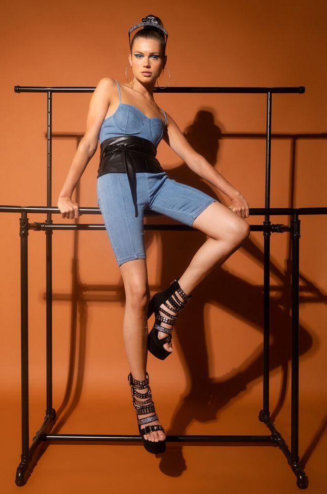 Sandra Dee Denim Biker Shorts in Medium Blue Denim