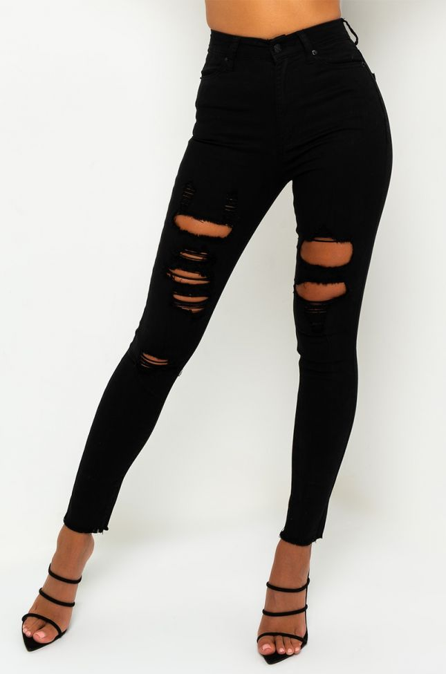 Front View Sandy High Waisted Destroyed Frayed Skinny Jean in Black