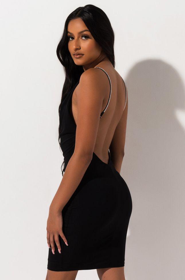 Side View Sasha Drape Jewel Mini Dress in Black