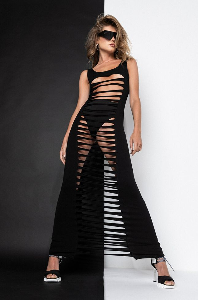 Front View Savage Vibes Maxi Dress With Cut Out Front And Back in Black