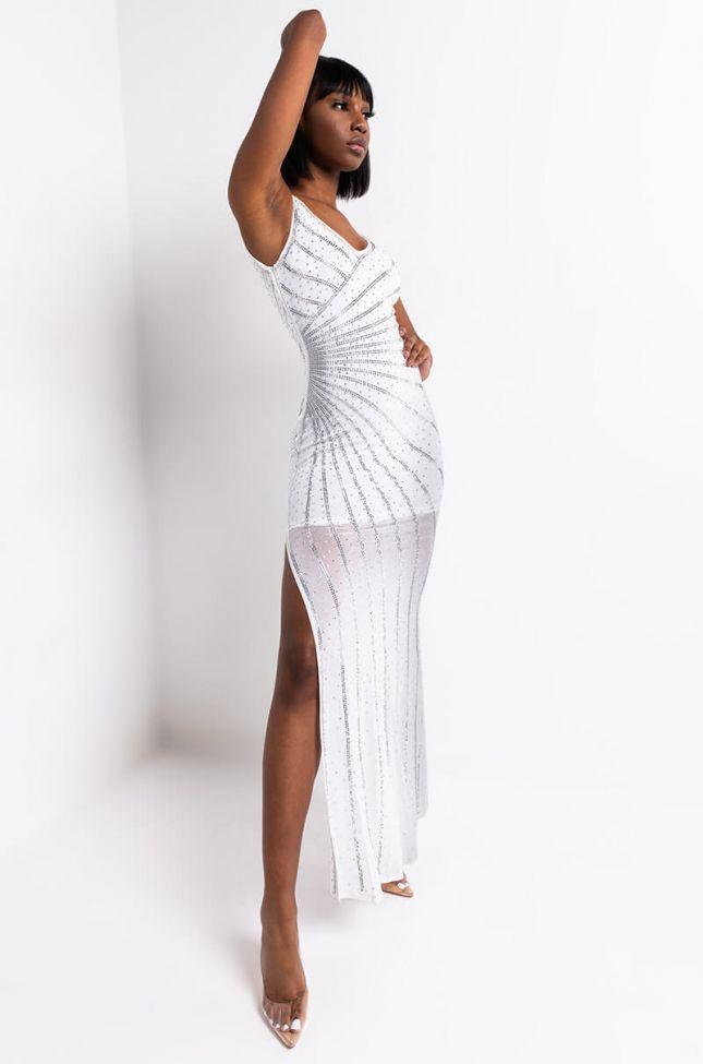 Front View Savannah Nights Rhinestone Detail Dress in White