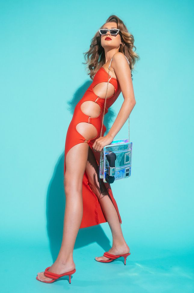 Back View Save It For The Dance One Sleeve Maxi Dress in Red
