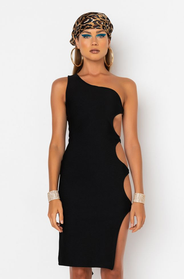 Front View Save It For The Dance One Sleeve Midi Dress in Black