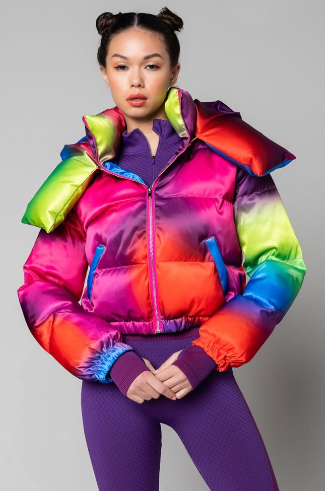 Side View Say Hello Ombre Hooded Puffer in Blue Multi