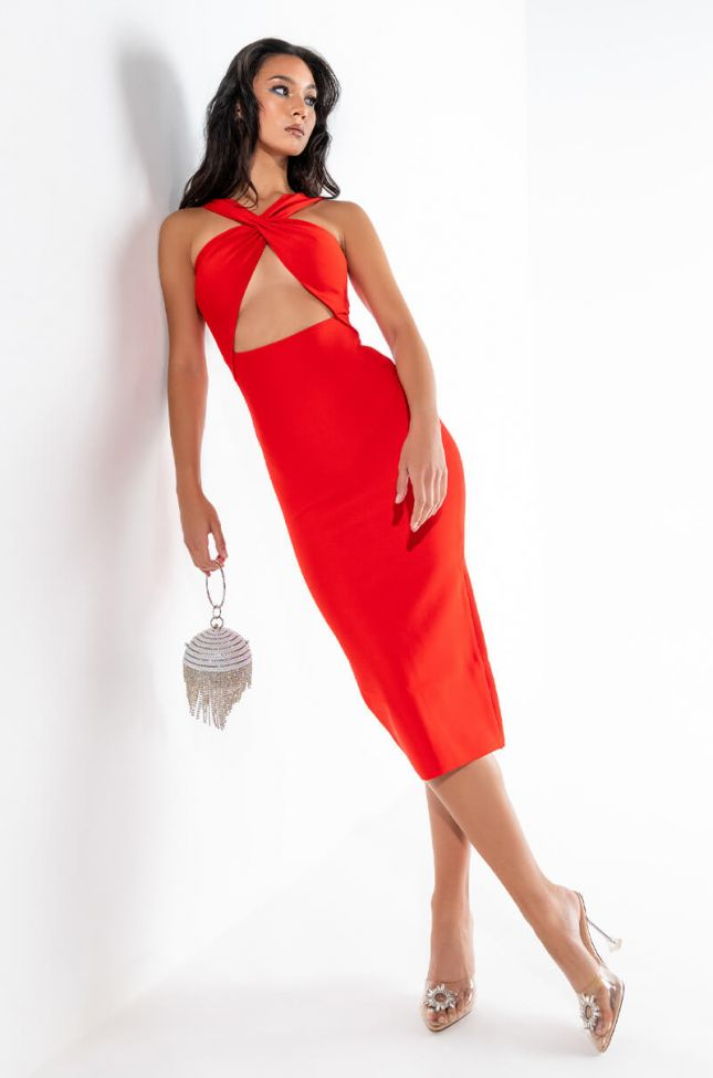 SAY HEY BAE MIDI BANDAGE DRESS WITH CUT OUT