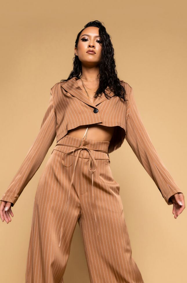 Full View Say It Right Pinstripe Blazer in Camel