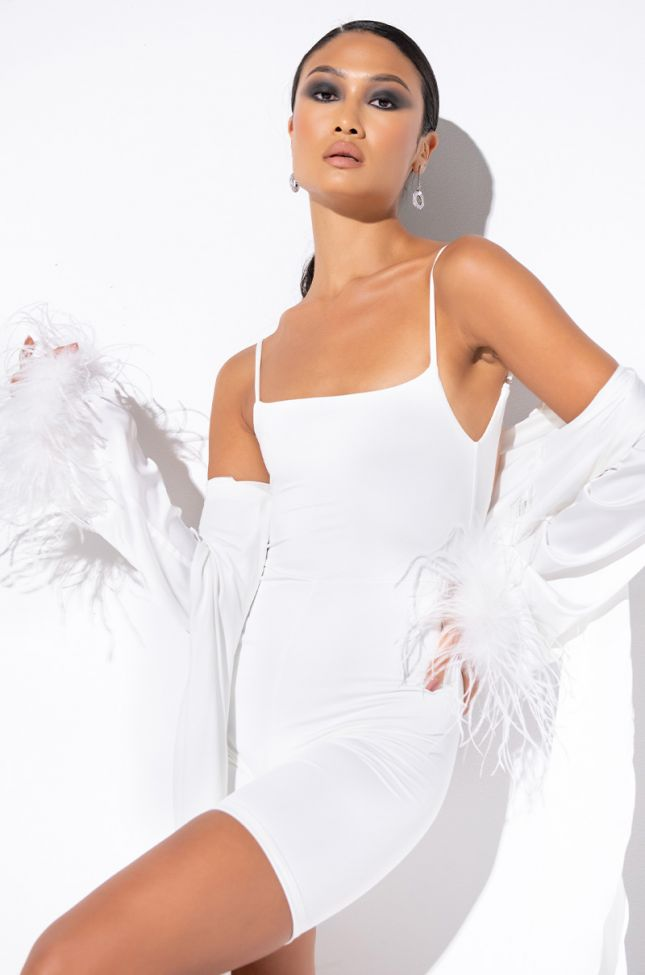 Front View Say Less Romper in White