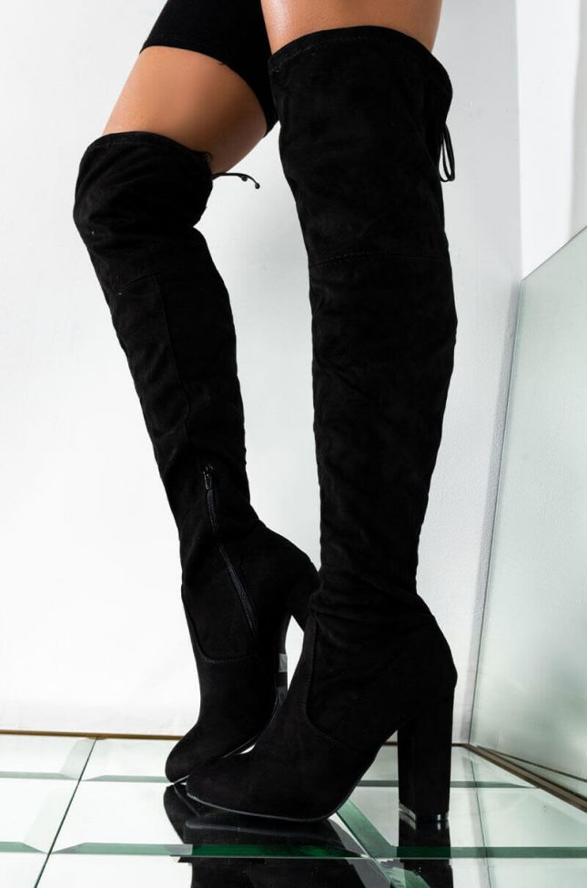 Front View Say My Name Chunky Boot in Black