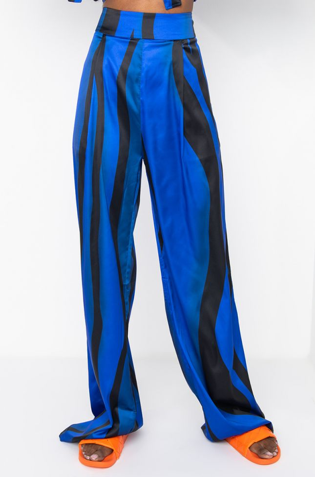 Front View Say My Name Satin Pant in Royal Blue