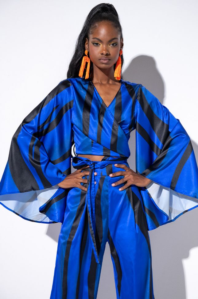 Front View Say My Name Satin Tie Front Top in Royal Blue