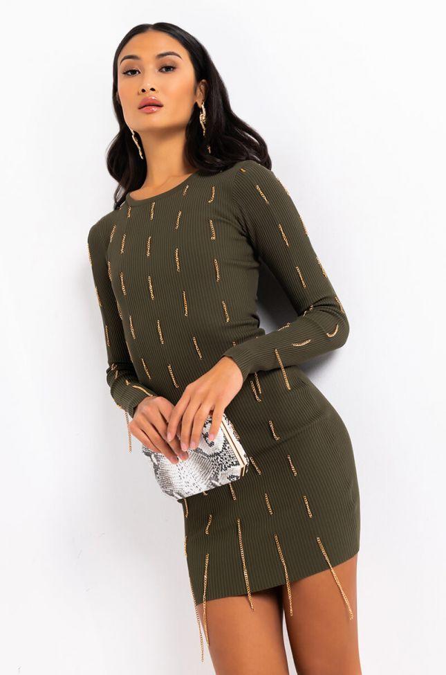 Front View Secrets In The Dark Fringe Dress in Olive