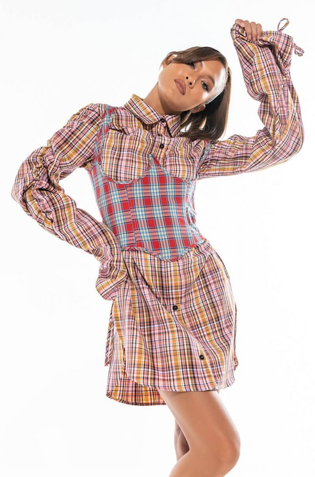 Front View Secrets Out Plaid Button Up Dress With Attached Corset