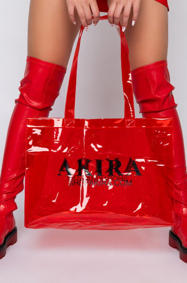 Side View Secure The Bag Akira Pvc Shopping Bag in Red