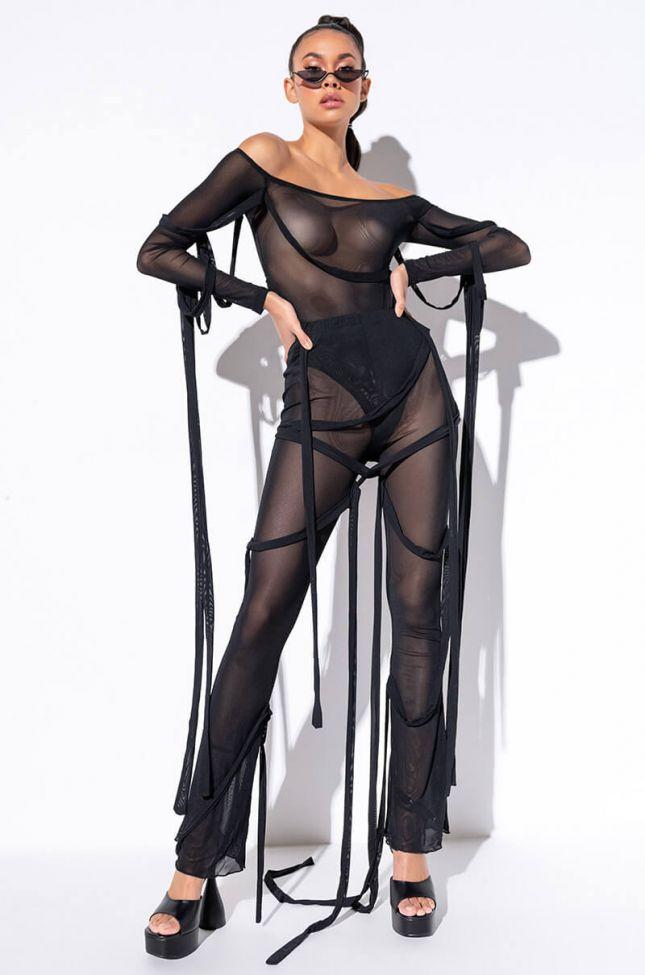 Seduction Mesh Flare Pant in Black