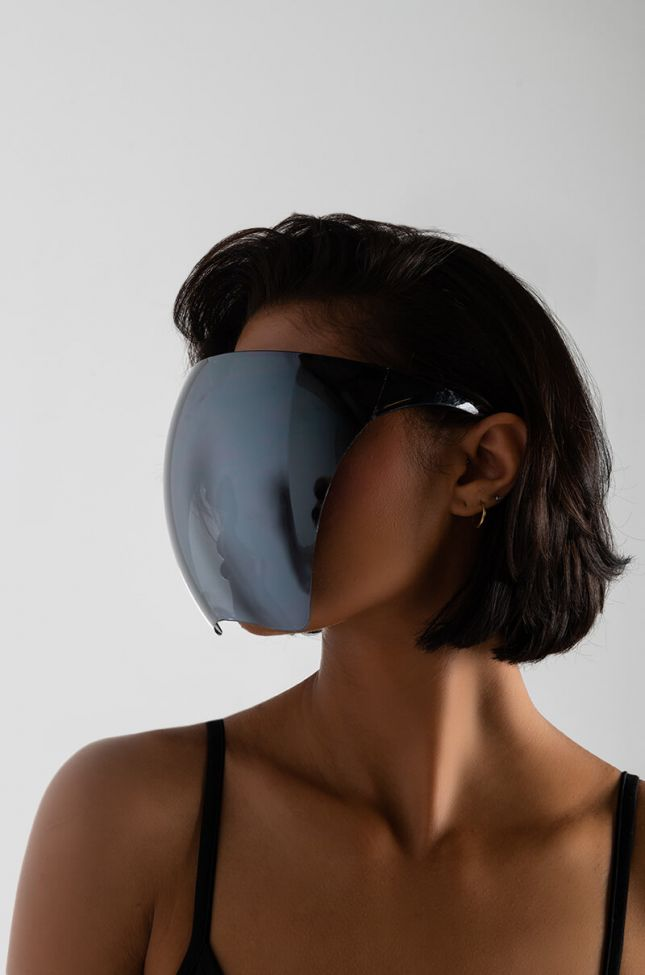 Front View See Through Me Fashion Face Shield in Silver
