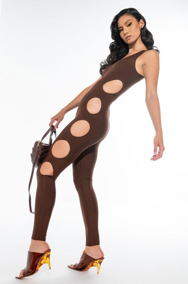 SEE WHAT I WANT CUTOUT BANDAGE JUMPSUIT