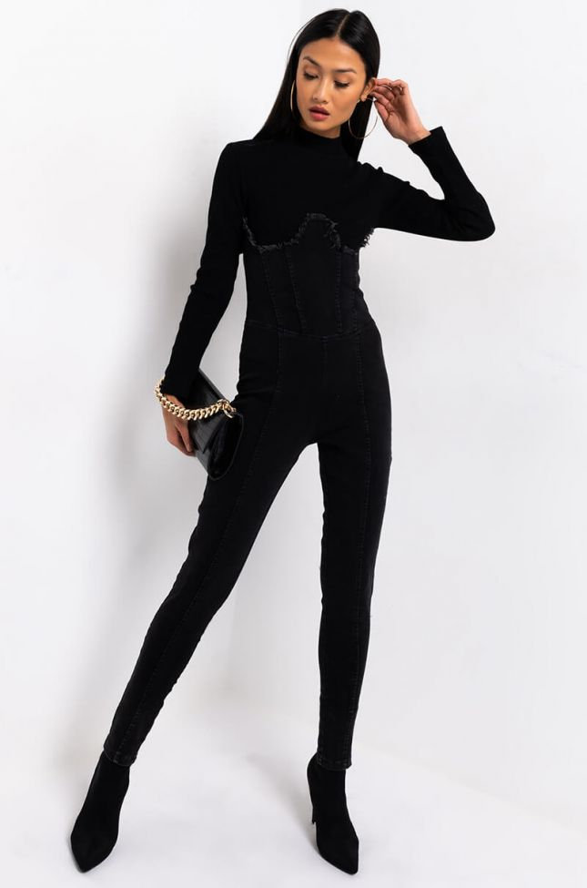 Front View See You Soon Long Sleeve Denim Jumpsuit in Black