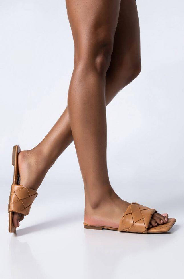 Front View Selfish Love Flat Sandal in Tan