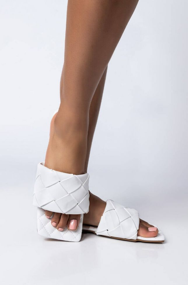 Front View Selfish Love Flat Sandal in White