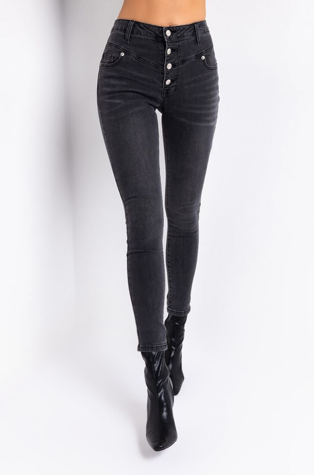 Front View Sepertine High Waisted Skinny Jeans in Black Denim