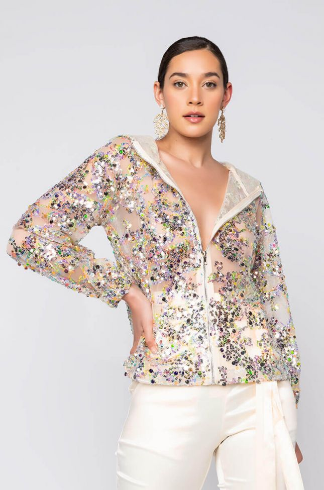 Front View Sequin Spring Mesh Bomber in Beige Multi