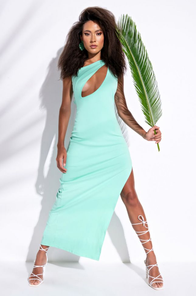 Side View Set It Off Maxi One Sleeve Dress With Cut Out in Mint