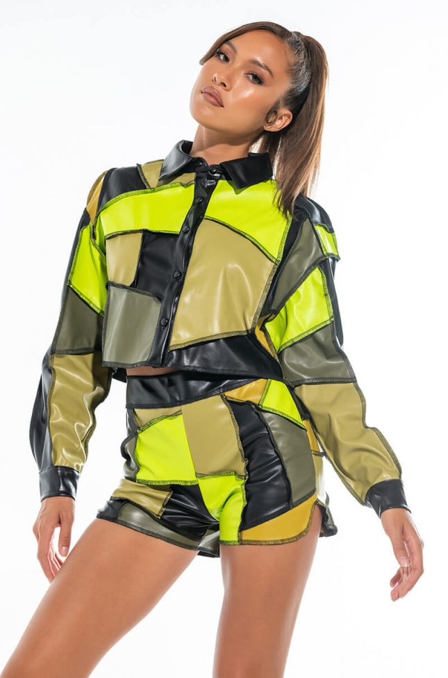 SHADES OF GREEN FAUX LEATHER PATCHWORK BUTTON DOWN
