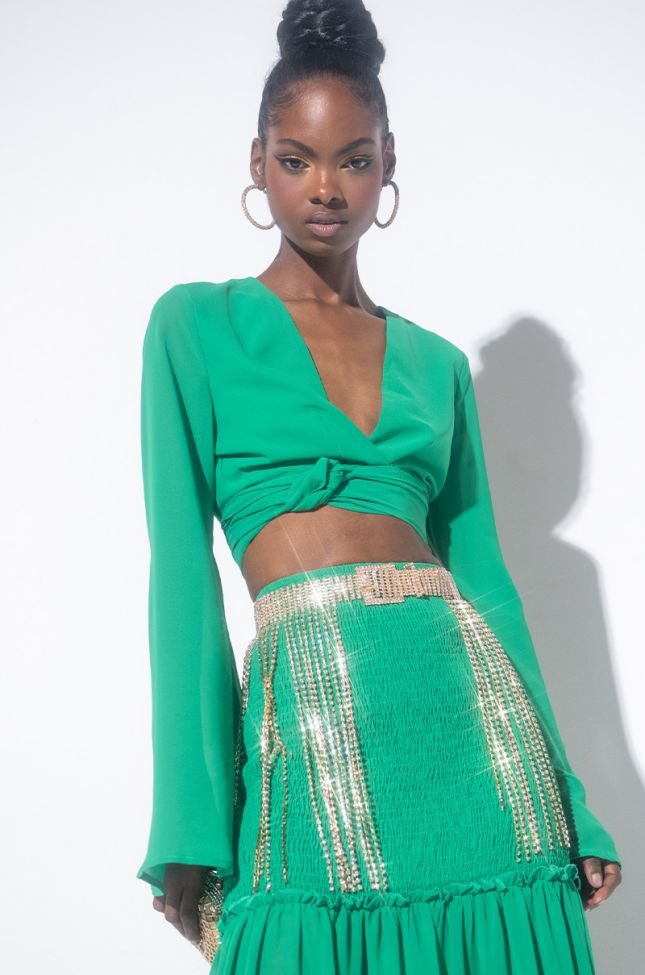 Front View Shake A Tail Feather Rhinestone Fringe Skirt Belt in Gold