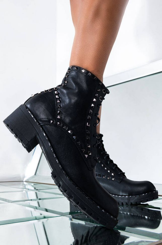 Front View She Bad Flat Bootie in Black