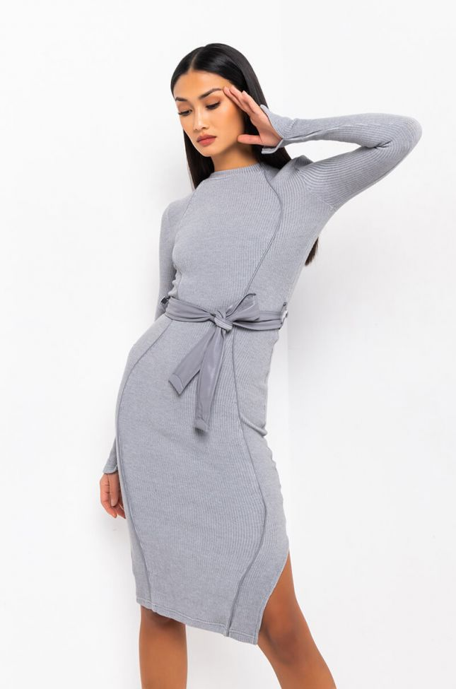 Front View She Could Never Long Sleeve Belted Midi Dress