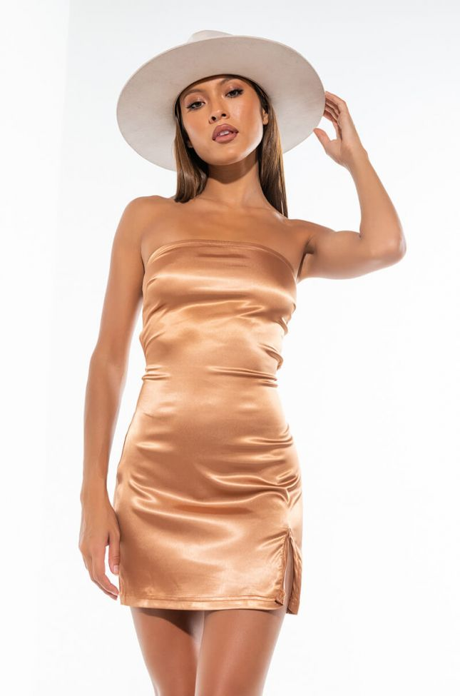 SHE THICK SATIN DRESS WITH CUT OUT BACK