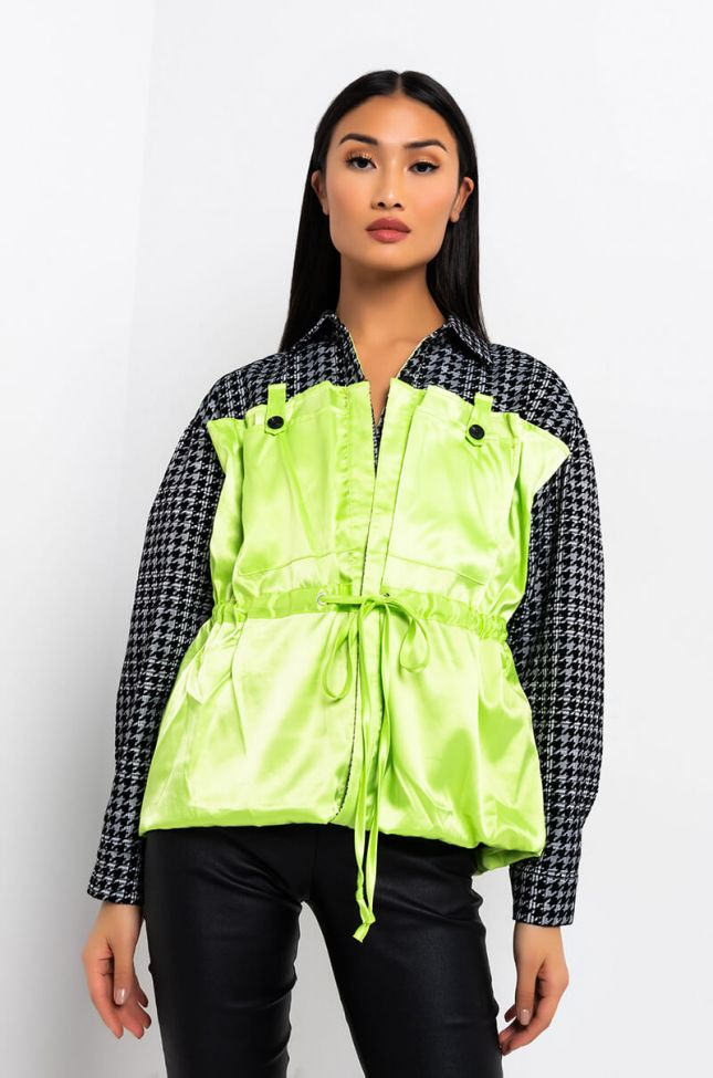Front View Shea Houndstooth Detail Satin Jacket in Green Multi